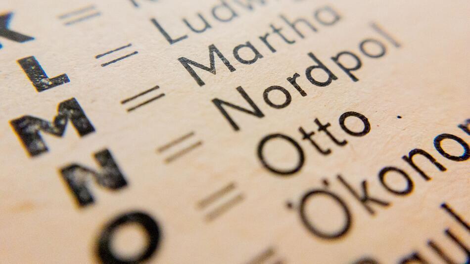 Buchstabiertafeln in Telefonbüchern