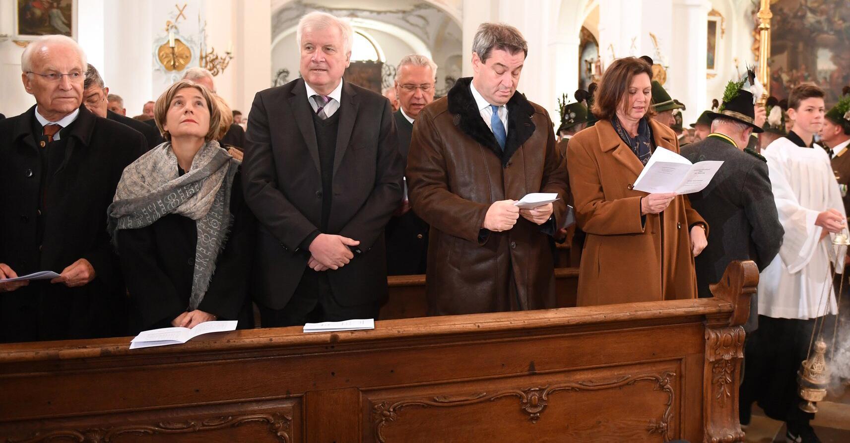 Bild zu Gedenkfeier, 30. Todestag, Franz Josef Strauß, Edmund Stoiber, Horst Seehofer, Markus Söder, CSU