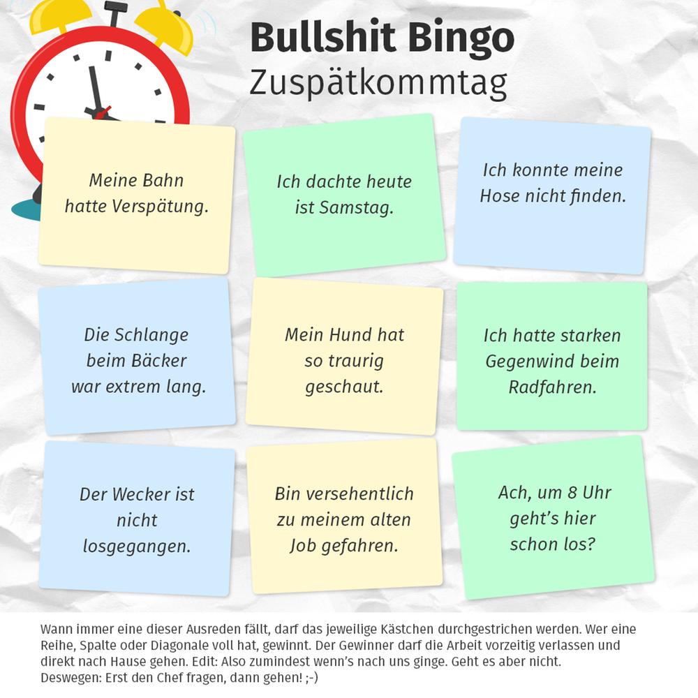 Bullshit Bingo, Zuspätkommtag
