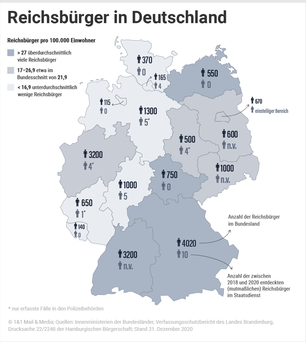 Deutschlandkarte mit Anzahl der Reichsbürger + Reichsbürger in Polizeibehörden
