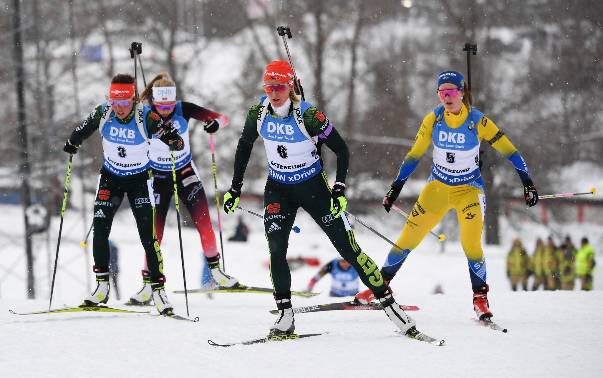 Bild zu Biathlon, Biathlon-WM, Östersund, Denise Herrmann, Laura Dahlmeier, Ingrid Landmark Tandrevold